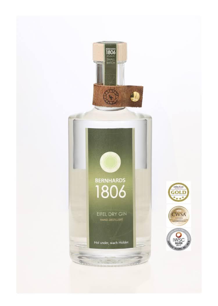 Bernhards1806-Eifel Dry Gin 0,5 Liter mit Medalie